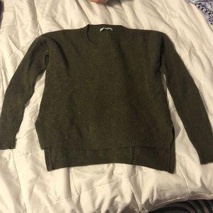 Madewell sage green sweater with hi/lo hem